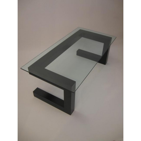 DESIGN SALONTAFEL GLAS   Staaal Metal Dutch Design